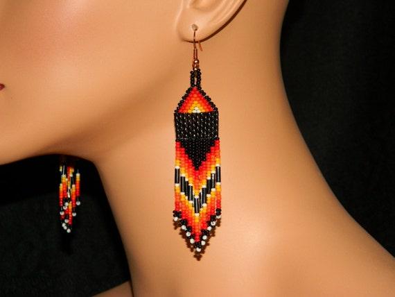 "NEW Native American ""Lakota Flames 01""  Beaded Earrings"