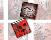 Mixed 1 Inch Square Images in Red