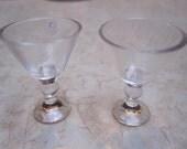 "Set of  2 (TWO)  RARE, Miniature Plastic Martini Cocktail Glass 1"" tall"