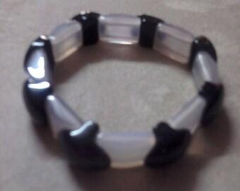 Beautiful Onyx and Quartz Bracelet