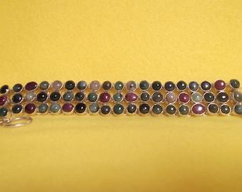 Gorgeous Multi Color Tourmaline Silver Sterling Bracelet