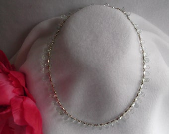 Gorgeous Sparkly Faucet Aquamarine Onion Beads with Silver Bead Necklace