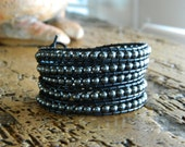 Leather Wrap Bracelet Black Leather Women's Chan Luu Style Hematite Pewter Toggle Clasp