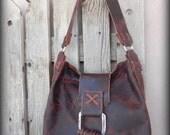 Large Handmade Chocolate Brown Bison Hide Leather Handbag FreeShipping