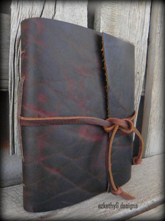 Rugged Handmade Bison Leather Hunting Journal Cherry/Chocolate Brown