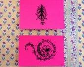 violette - a set of 5 hot pink cartes postales