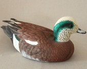 Duck Carving - Hand Carved Amercian Wigeon - Drake ~Birthday, Wedding, Christmas Gift