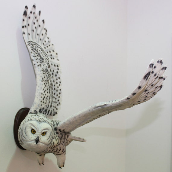 Bird Carving Owl Hand Carved Full Size Snowy Owl Wall