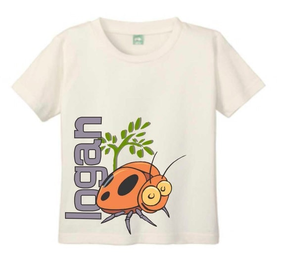 Printed Bug T-shirt, Natural T Shirt, T Shirt for Toddlers and Children Customized with Name, Lady Bug T Shirt, Ladybug T Shirt, Bug Shirt
