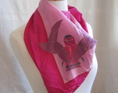 Vintage Pink and Purple Owl Scarf  -free shipping-