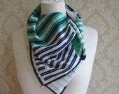 Vintage Striped Scarf, Blue Green and White Scarf, Vintage Leonardi Scarf, Vintage Italian Designer Scarf