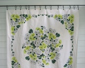 Vintage Tablecloth, White with Yellow Grey and Green Flowers, Large Floral Center with Border