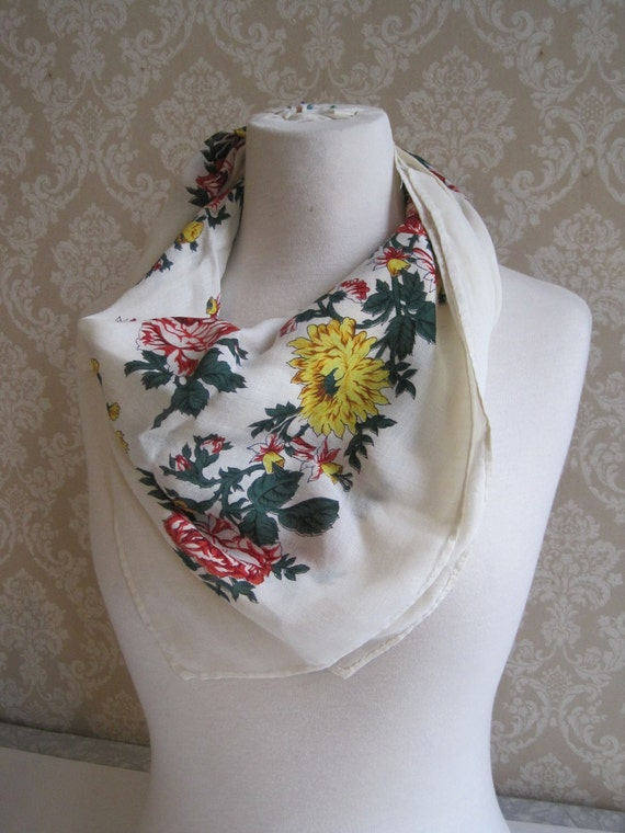 Vintage White Floral Scarf, White Red Yellow Flowers, Vintage Cotton Scarf,  Spring Summer Scarf, Light Floaty Scarf
