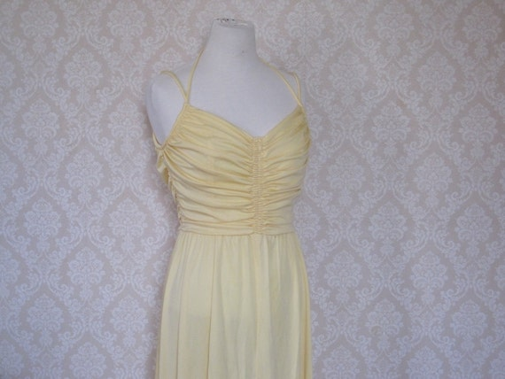 Vintage Yellow Formal Gown--1970s Size 18 Sears Butter Yellow Prom Dress Spaghetti Straps Halter Straps Shirred Bodice