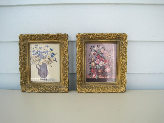 Vintage Framed  Picture--Set of Two Feminine Gold Scroll Frames Shabby Chic Romantic Floral