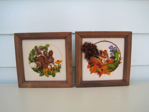Vintage Framed Embroidery--Woodland Critters--Squirrel and Bunny Rabbit--Forest Cuties--Crewel, Needlepoint, Embroidery