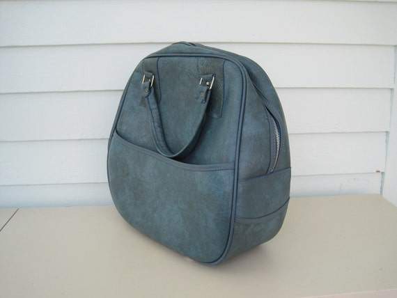 Vintage Blue Luggage--Powder Blue and Gray with Zippered Clasp, Carry On, Bowling Bag