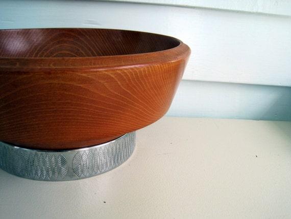 Vintage Wooden Hellerware Fruit Bowl, Danish Modern, Mid Century Modern Chrome and Wood Home Decor