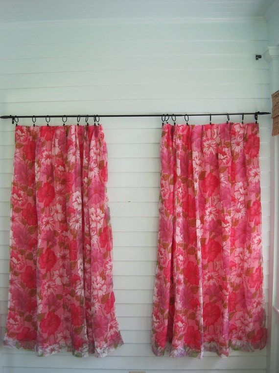vintage pink curtains pair hot pink floral set of two feminine floral