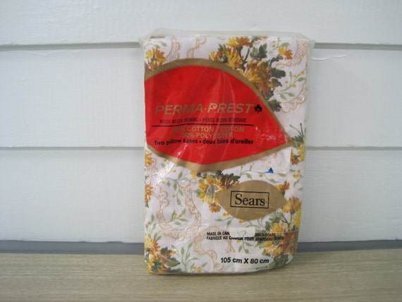 Vintage Floral Pillowcases--New Old Stock Gold Brown Green Never Opened New Vintage