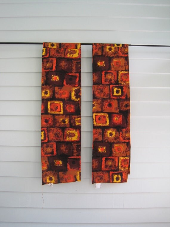 Vintage 1970s Curtains Valances Pair, Set of Two, Brown Orange Yellow Psychedelic Mod Design