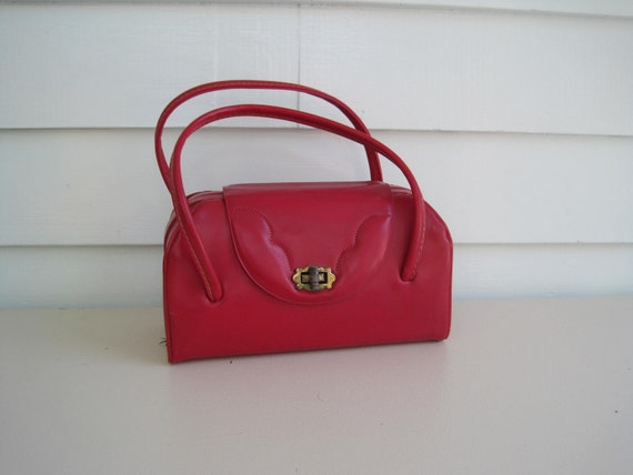 Vintage Box Purse, Cherry Red Box Purse, Clutch, Handbag, Pinup, Classic Style