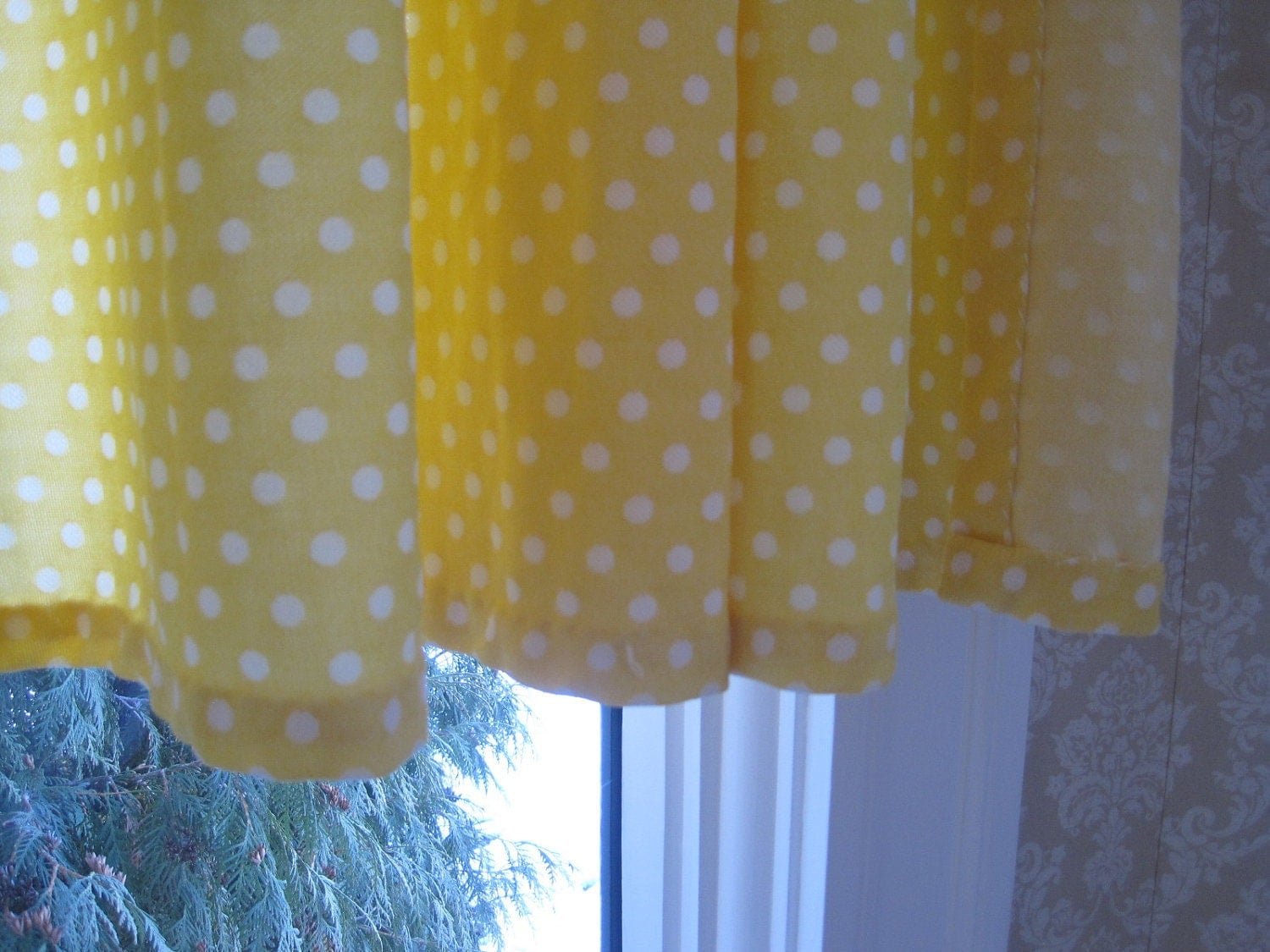 Vintage Yellow Curtains Polka Dots Polyester By