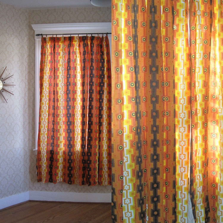 Vintage Orange Curtains Flower Power Totally Groovy 70s