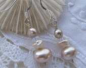 Peach pearls with moonstone drop earrings