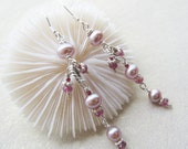 Lavender pink pearl and raspberry pink tourmaline dangle earrings