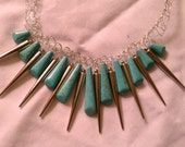 50% off everything with coupon code BKACC50OFF  Turquoise Stones & Silver Spikes Necklace