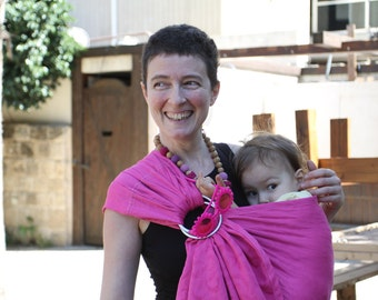 Baby Carrier Brocade Pink (Magenta) Ring Sling.
