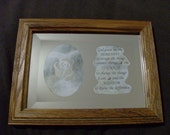 Serenity Prayer & Rose: 5x7 wood-framed, etched, beveled mirror