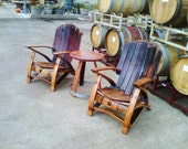 Adirondack Wine Barrel Set (3 piece set chairs & Table)