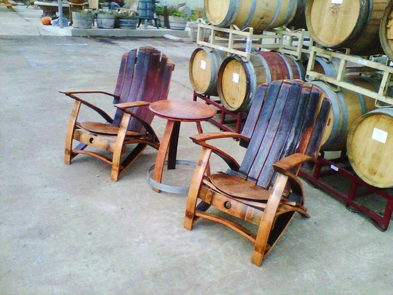 Adirondack Wine Barrel Set (3 piece set chairs & Table)