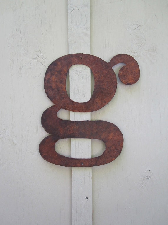 """Lowercase metal letter """"g"""" from Screaming Horse Iron Works. Custom sizes and letters available."""