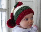 FREE SHIPPING Christmas Stocking hat knitted in Christmas for adult in Christmas Red, green and white.