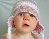 FREE SHIPPING Snow baby hat 6 - 12 months ready to ship Perfect pink and white baby hat perfect for Valetine's Day