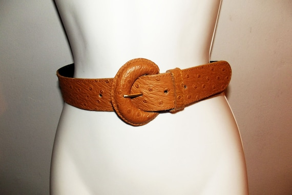 Clearance vintage  wide  leather  belt size S