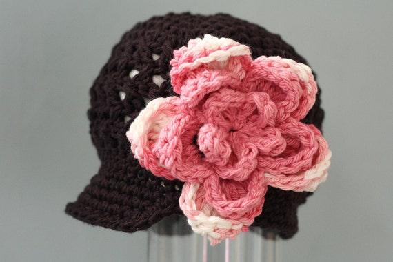 5T - Preteen - Girl's Newsboy Beanie Cap - Crochet Hat - Brown Cotton - Pink Flower