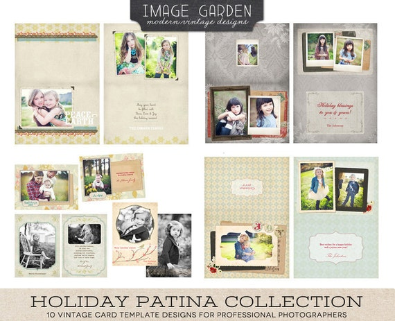 Holiday Patina Card template Collection of 10 card designs - designs for photographers
