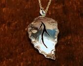 Handmade Silver Leaf-shaped Pendant
