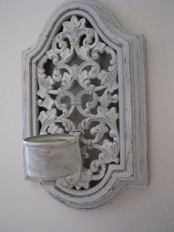 Ivory Distressed Shabby Chic Cottage Candle Wall Sconce
