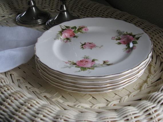 Cottage,Shabby Chic, Vintage Pink Rose Dessert Plates