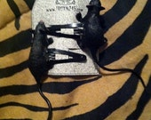 """4"""" rubber rat hair clips, horror, goth, psychobilly"""