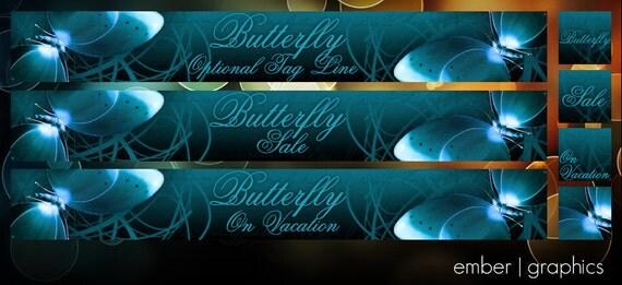 OOAK 7 Piece Set - Butterfly - Banner/Avatar Package