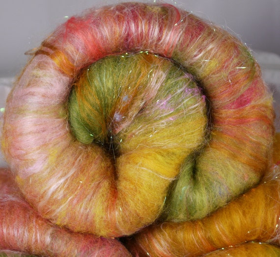Chunky Batt for spinning - Primrose Path   (2.5 oz.) Romney, kid mohair, merino, silk, bamboo, silk noil, firestar, angelina