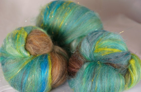 Fiber Batts for spinning - Robin's Nest  ( 1 oz.) alpaca, merino, wool, angora, bamboo, silk, silk noil,  firestar,  angelina