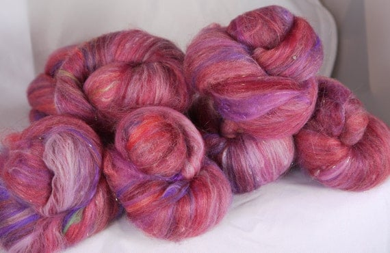 SALE - Fiber Batts for spinning -Taffy Pull  (2 oz.) merino, superwash wool,  bamboo, silk, silk noil,  angelina
