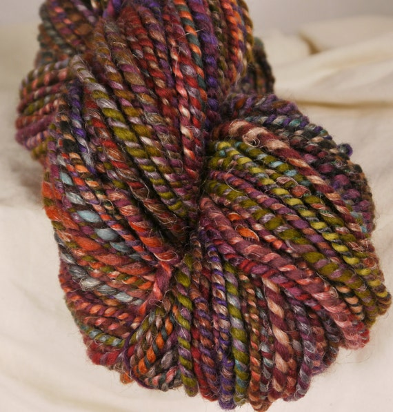 Coiled  Handspun Art Yarn -  Magic Carpet  ( 120 yds)- wool, alpaca, silk, flax , corespun around cotton thread